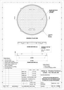 Poklop kruihový DN 600 B 125 KN uzamykateľný